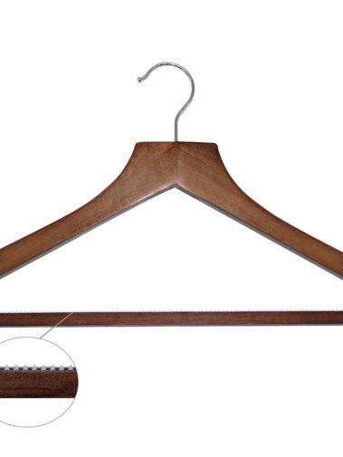 Hölzerner Kleiderbügel Basic mit Hosensteg - dunkles Holz