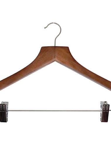 Hölzerner Kleiderbügel Basic mit Hosenklammern - dunkles Holz