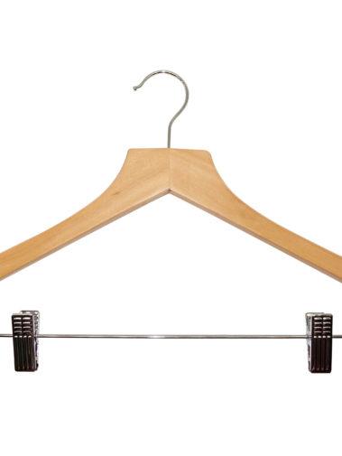 Hölzerner Kleiderbügel Basic mit Hosenklammern