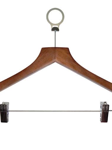 Holz Anti-Diebstahl-Kleiderbügel Basic mit Hosenklammern - dunkles Holz
